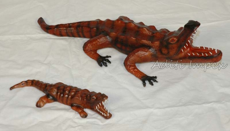 Handicraft Leather Alligator Sculpture