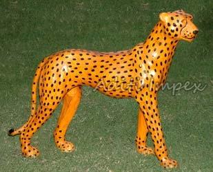Handicraft Leather Cheetah Sculpture