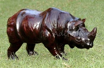 Handicraft Leather Rhino Sculpture