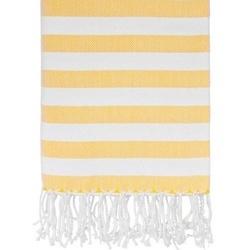 Yellow & White Bold Striped Bath Towels