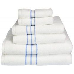 Blue Striped White Cotton Hotel Towels