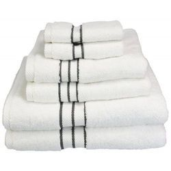 Black Striped White Cotton Hotel Towels