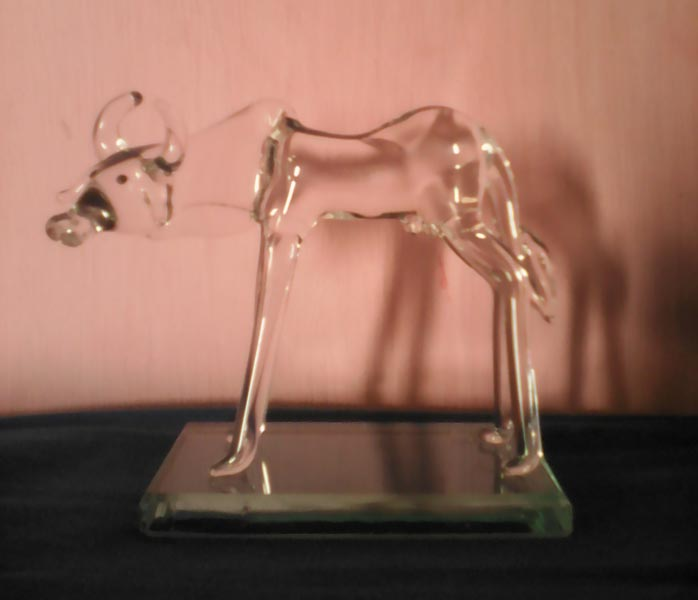 Glass Cow Statue