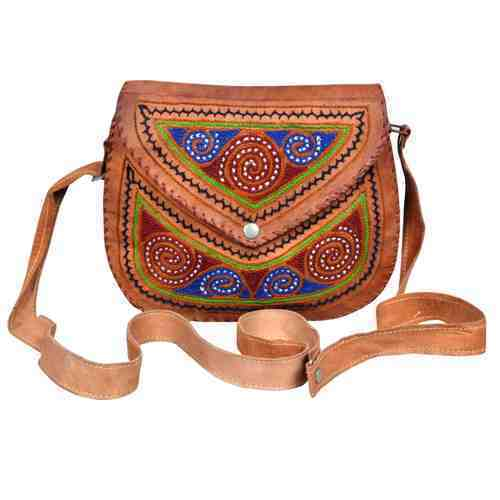 Ladies Leather Embroidered Sling Bags