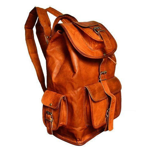 Orange Leather College Bags
