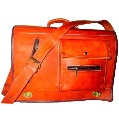 Orange Leather Office Bags