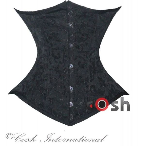 Black Brocade Underbust Steel Boned Corset