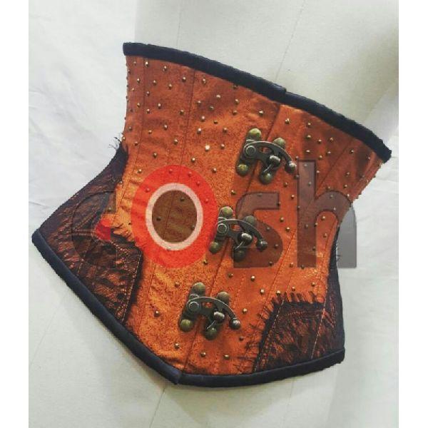 Light Brown Brocade Underbust Steel Boned Corset