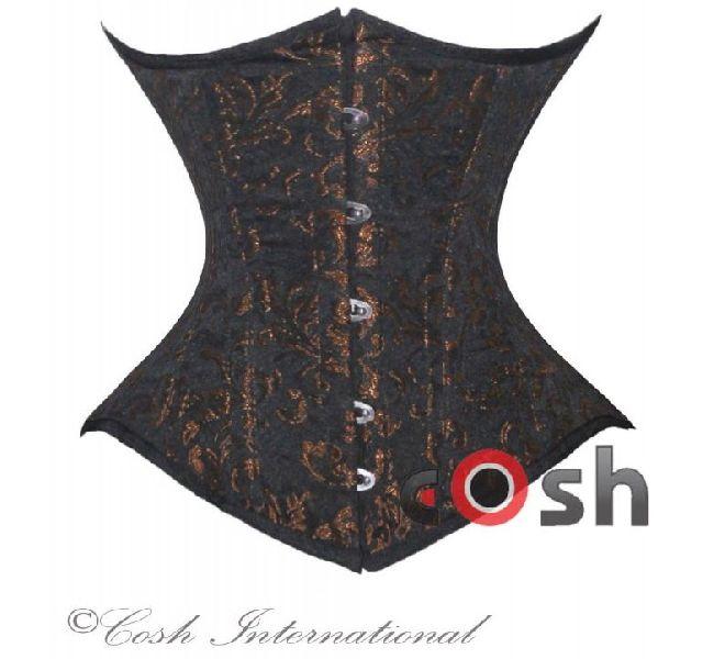 Dark Brown Brocade Underbust Steel Boned Corset