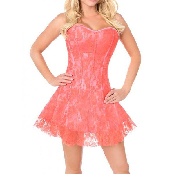 Pink Satin Steel Boned Corset Dress