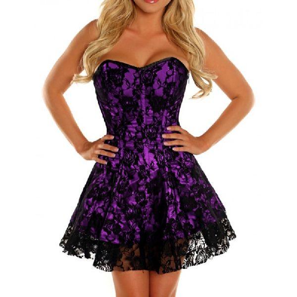 Purple & Black Satin Steel Boned Corset Dress