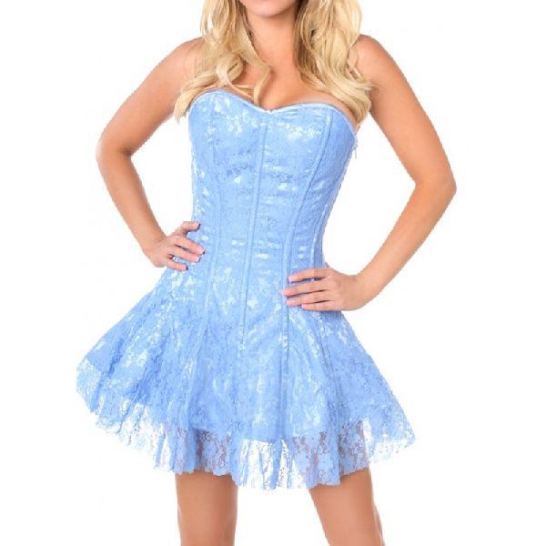 White & Blue Satin Steel Boned Corset Dress