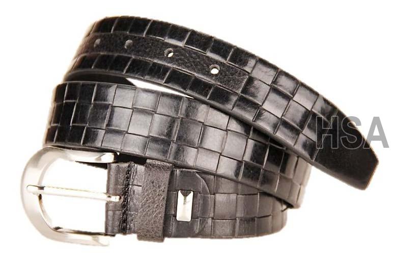 Mens Leather Belt (G58954BLK)