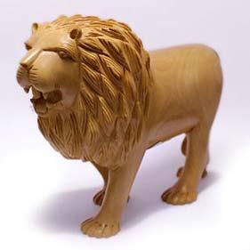 Wooden Lion Statue