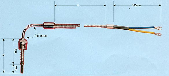 90 Degree Bend RTD Thermocouple
