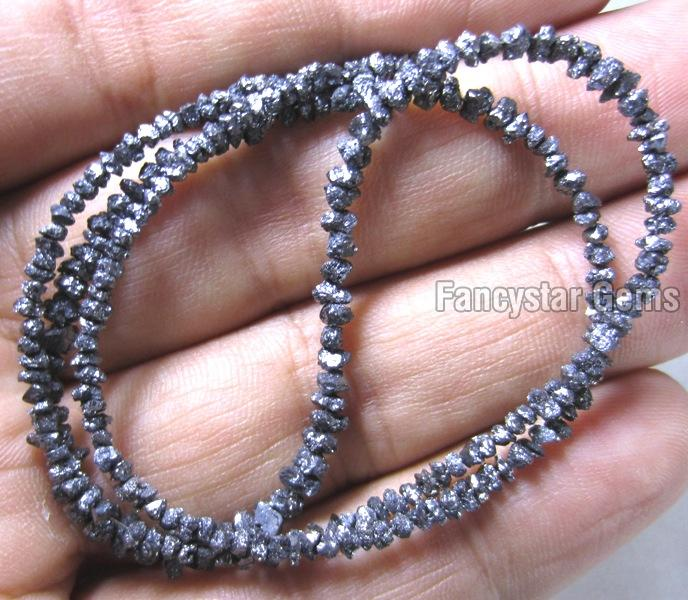 Blue Color Rough Diamond Beads Necklace 01