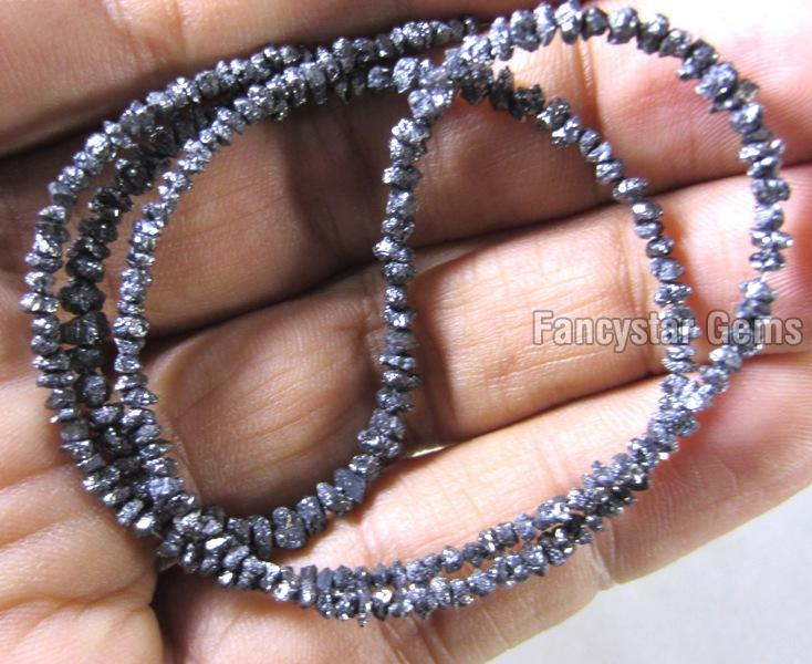 Blue Color Rough Diamond Beads Necklace 02