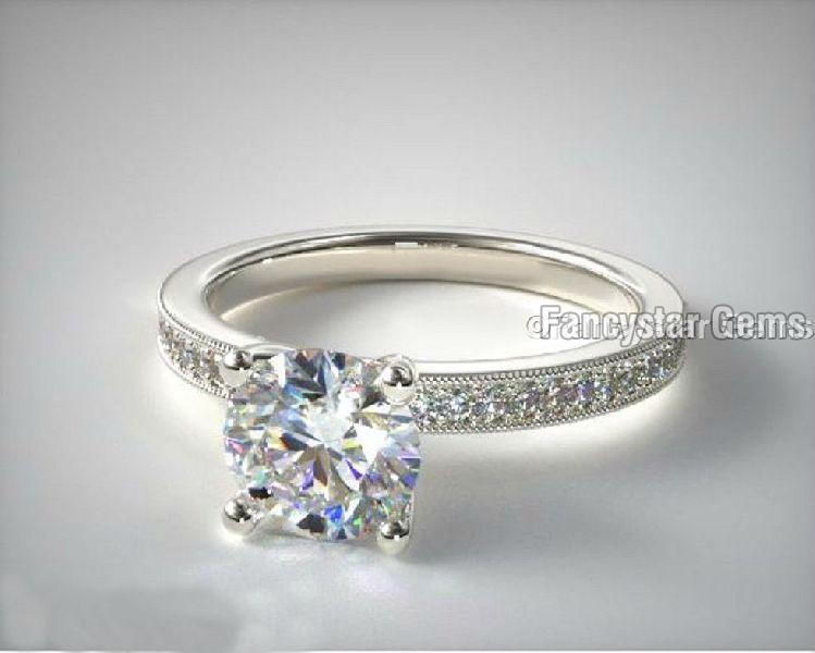Bright Set Milgrain Pave Engagement Rings