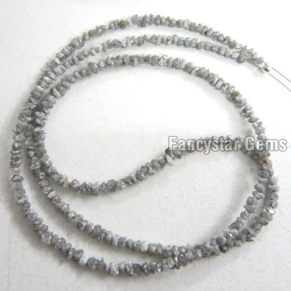 Gray Color Rough Diamond Beads Necklace