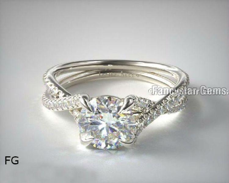 Twin Pave Cross Over Moissanite Engagement Rings