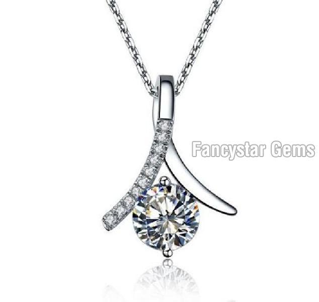 White Gold Diamond Pendant 01