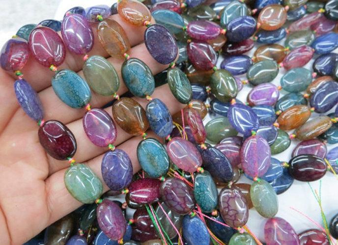 Agate Flate Oval Beads 04