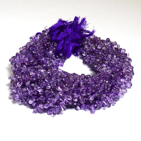 Amethyst Side Drops Smooth Beads
