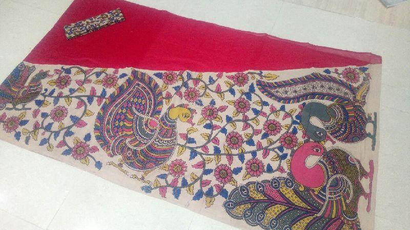 Kalamkari Chanderi Cross Pallu Saree 01