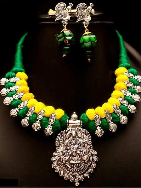 Oxidized Thread Temple Necklace Set 03
