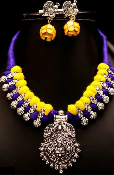 Oxidized Thread Temple Necklace Set 06
