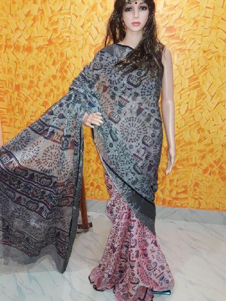 Printed Linen Saree 03