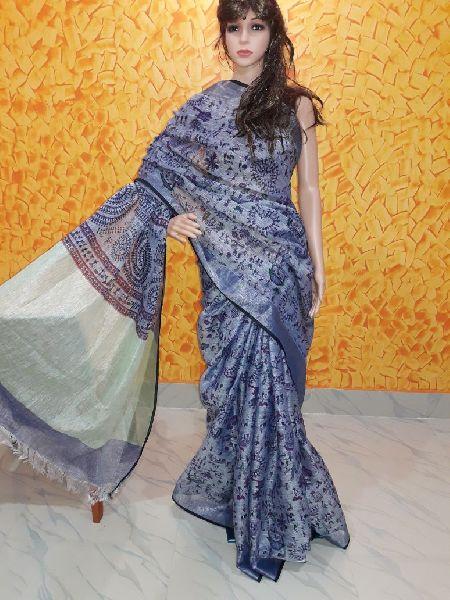 Printed Linen Saree 04
