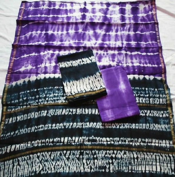 Unstitched Chanderi Silk Shibori Print Suit 05