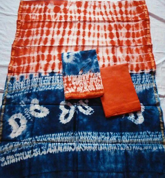Unstitched Chanderi Silk Shibori Print Suit 06