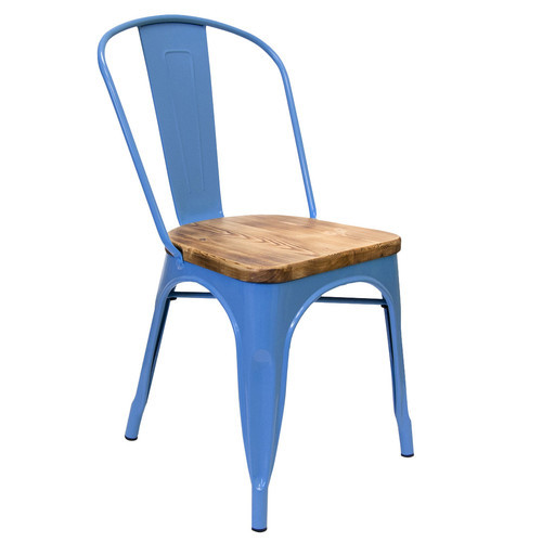 Light Blue Color Wooden Top Metal Chair