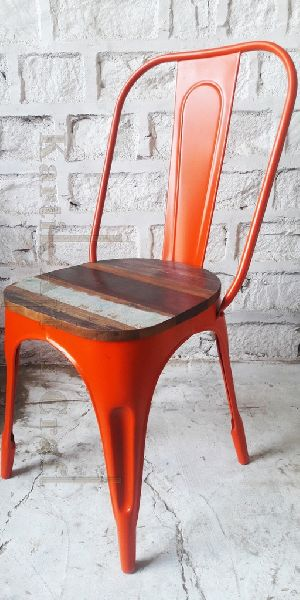 Metal Tolix Chair With Wooden Top