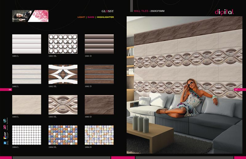 250 X 375 MM Glossy Series Digital Wall Tiles
