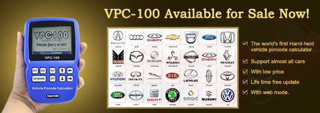 vpc-100 vehicle pin code calculator for  TRANSPONDER KEYS