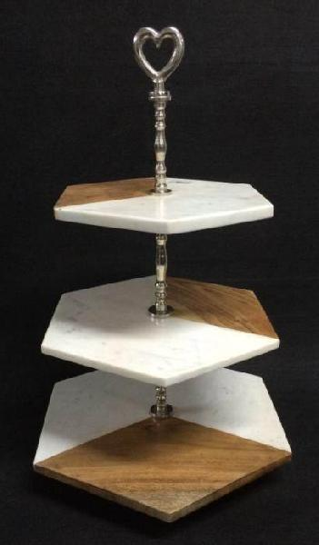 Marble Wood Cake Stand 03