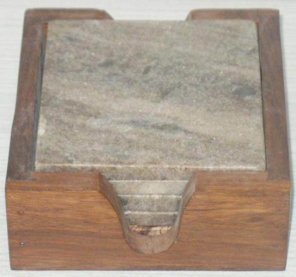 NS0015 Marble Wood Coasters Set