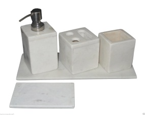 White Marble Bath Accessories 01