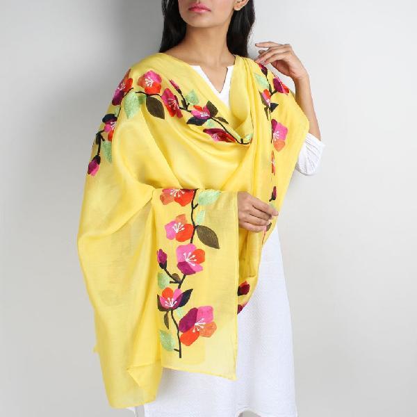 Floral Silk Dupatta 09