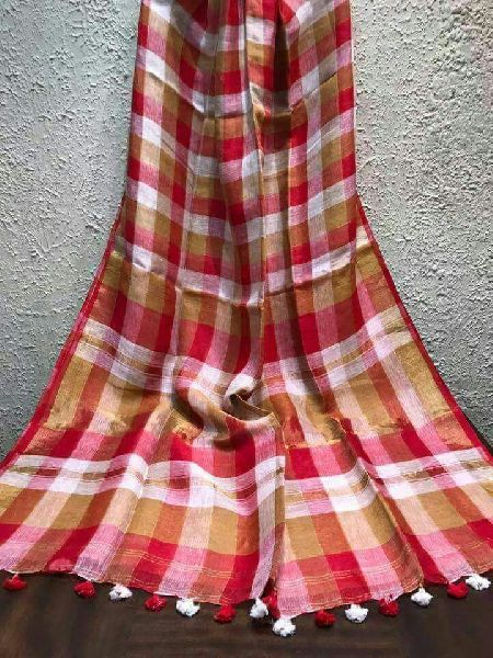 Linen Check Saree 02