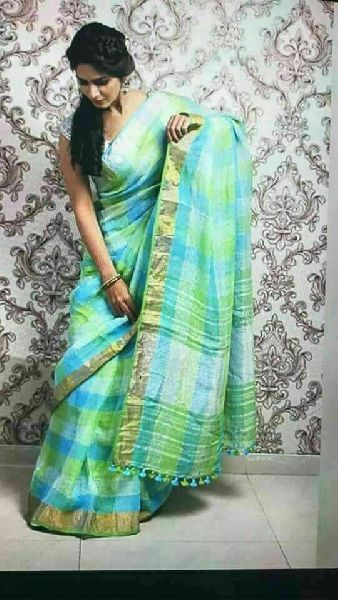 Linen Check Saree 03