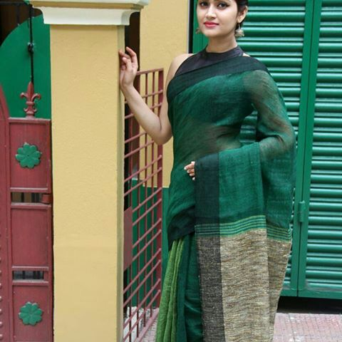 Linen Khadi Cotton Saree 01