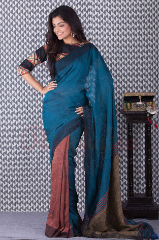 Linen Khadi Cotton Saree 02