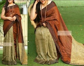 Linen Khadi Cotton Saree 04