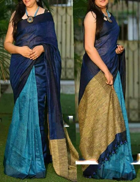 Linen Khadi Cotton Saree 08