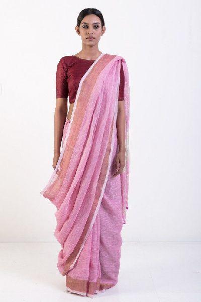 Linen Saree With Golden Zari Border 01