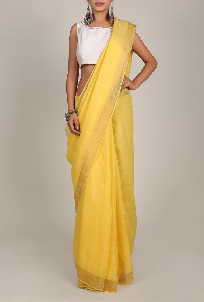 Linen Saree With Golden Zari Border 02